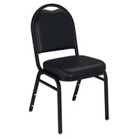 National Public Seating 9210-BT Dome Style Stack Chair with 2 inch Padded Seat, Black Sandtex Metal Frame, and Panther Black Vinyl Upholstery