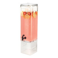 Cal Mil 1112-3AH 3 Gallon Classic Acrylic Beverage Dispenser with Ice Chamber and Side Handles – 7 inch x 9 inch x 29 1/2 inch