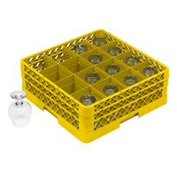 Vollrath TR4DDA Traex Full-Size Yellow 16-Compartment 7 7/8 inch Cup Rack with Open Rack Extender On Top