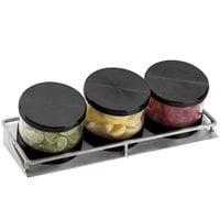 Cal-Mil 1850-5-13 Mixology Stainless Steel Three 32 oz. Jar Horizontal Display with Black Lids - 16 1/2 inch x 6 inch x 6 3/4 inch