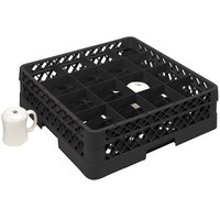 Vollrath TR4DDDA Traex Full-Size Black 16-Compartment 9 7/16 inch Cup Rack with Open Rack Extender On Top