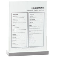 Cal-Mil 3016-811-55 Luxe Menu Holder with Stainless Steel Base - 9 inch x 2 5/8 inch x 12 inch
