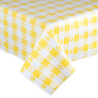 52 inch x 72 inch Yellow Checkered Vinyl Table Cover with Flannel Back