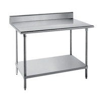 Advance Tabco SKG-246 24 inch x 72 inch 16 Gauge Super Saver Stainless Steel Commercial Work Table with Undershelf and 5 inch Backsplash