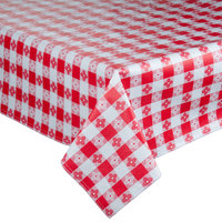 52 inch x 72 inch Red Checkered Vinyl Table Cover with Flannel Back