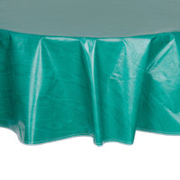 60 inch Round Green Vinyl Table Cover with Flannel Back