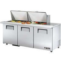 True TSSU-72-24M-B-ST-ADA 72 inch Mega Top Three Door ADA Height Sandwich / Salad Prep Refrigerator