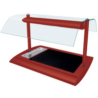 Hatco SRGBW-1 Warm Red Serv-Rite Portable Heated Glass Buffet Warmer with Overhead Heating - 650W
