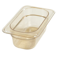 Carlisle 3088613 StorPlus 1/9 Size Amber High Heat Food Pan - 2 1/2 inch Deep
