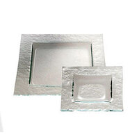 Service Ideas Tuscany Glass Eco-Line 9502 9 7/8 inch Clear Square Plate with Green Tint 6/Case