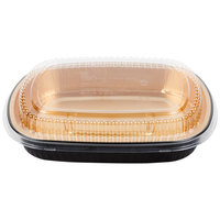 Durable Packaging 9553-PT-50 Large Black and Gold Black Diamond Foil Entree / Take Out Pan with Dome Lid - 10/Pack