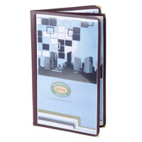 Menu Solutions SE350D-BURG Quad Panel Booklet Menu Jacket with 8 Views - 8 1/2 inch x 14 inch
