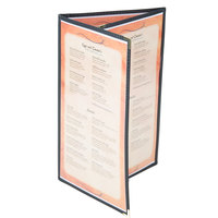 8 1/2 inch x 14 inch Menu Solutions SE330D-BLACK Triple Panel Folding Menu Jacket with 6 Views - Black