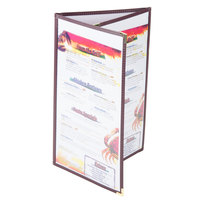Menu Solutions SE330D-BURG Triple Panel Folding Menu Jacket with 6 Views - 8 1/2 inch x 14 inch