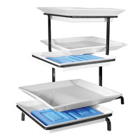 Cal-Mil CP2301-13 Cold Concept Black Three Tier Display with Porcelain Platters