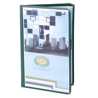 Menu Solutions SE340D-GREEN Triple Panel Booklet Menu Jacket with 6 Views - 8 1/2 inch x 14 inch