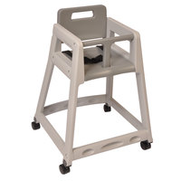 Koala Kare KB850-01W-KD Gray Unassembled Stackable Plastic High Chair with Casters
