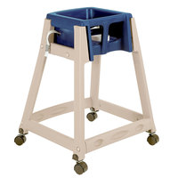 Koala Kare KB888-04W KidSitter Beige Stackable Multi-Use Plastic High Chair with Casters