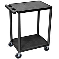 Luxor / H. Wilson HE32-B Black 2 Shelf Utility Cart