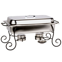 Choice 8 Qt. Full Size Chafer Set with Black Wrought Iron Stand, Stainless Steel Lid Handle, and Fuel