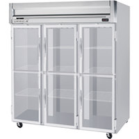 Beverage Air HR3-1HG-LED 3 Section Glass Half Door Reach-In Refrigerator - 74 cu. ft., SS Front, Gray Exterior