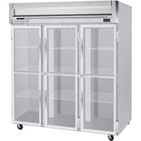 Beverage Air HR3-1HG 3 Section Glass Half Door Reach-In Refrigerator - 74 cu. ft., SS Front, Gray Exterior