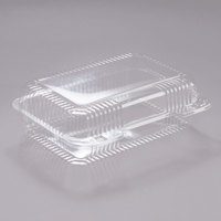 Dart PET40UT1 StayLock 9 3/8 inch x 6 3/4 inch x 3 1/8 inch Clear Hinged PET Plastic Medium High Dome Oblong Container - 250/Case