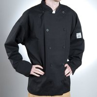 Chef Revival J030BK-3X Chef-Tex Size 56 (3X) Black Customizable Poly-Cotton Traditional Chef Jacket