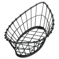 Tablecraft GM1809 Grand Master Oblong Black Wire Basket - 18 inch x 9 inch x 5 1/2 inch