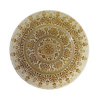 10 Strawberry Street MON-340(BEI-GOLD) 13 1/4 inch Monaco Beige/Gold Glass Charger Plate