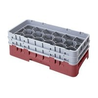 Cambro 17HS958416 Camrack 10 1/8 inch High Cranberry 17 Compartment Half Size Glass Rack