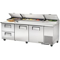 True TPP-93D-2 93 inch Refrigerated Pizza Prep Table with Two Doors and Two Drawers