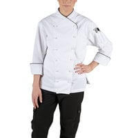 Chef Revival LJ008-M Chef-Tex Size 8 (M) Customizable Poly-Cotton Ladies Corporate Jacket with Black Piping
