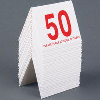 Cal-Mil 234-1 White/Red Double-Sided Number Tents 26-50 - 3 1/2 inch x 3 inch