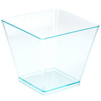 Fineline 6411-GRN Tiny Temptations 2 oz. Tiny Barware Green Plastic Cube Bowl - 200/Case