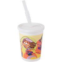 Huhtamaki Chinet 06273 12 oz. Plastic Kids Cup with Reusable Lid, Straw, and Roller Skate / Skateboard Design - 250 / Case
