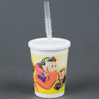 Huhtamaki Chinet 06273 12 oz. Plastic Kids Cup with Reusable Lid, Straw, and Roller Skate / Skateboard Design - 250/Case