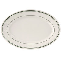 Tuxton TGB-043 Green Bay 14 1/8 inch x 10 inch Wide Rim Rolled Edge Oval China Platter - 12/Case