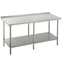Advance Tabco SFG-368 36 inch x 96 inch 16 Gauge Stainless Steel Commercial Work Table with Undershelf and 1 1/2 inch Backsplash