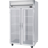 Beverage Air HRS2-1G-LED 2 Section Glass Door Reach-In Refrigerator with LED Lighting - 49 cu. ft., SS Front and Interior