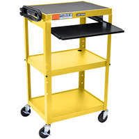 Luxor / H. Wilson AVJ42KB-YW Yellow Mobile Computer Cart / Workstation 24 inch x 18 inch with Keyboard Shelf
