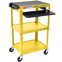 Luxor AVJ42KB-YW Yellow Mobile Computer Cart / Workstation 24 inch x 18 inch with Keyboard Shelf