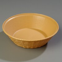 Carlisle 652467 WeaveWear Tan Round Plastic Serving Basket 9 inch - 1.6 Qt. - 12/Case