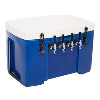 Blue 4 Faucet Grizzly Jockey Box with (4) 120' Coils - 30 inch x 20 1/2 inch x 20 inch
