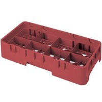 Cambro 8HS1114416 Cranberry Camrack 8 Compartment 11 3/4 inch Half Size Glass Rack