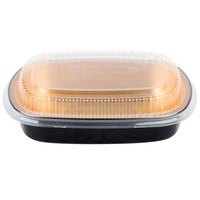 Durable Packaging 944-PT-50 Medium Black and Gold Black Diamond Foil Entree / Take Out Pan with Dome Lid - 50/Case