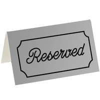 Cal-Mil 273-10 5 inch x 3 inch Gray/Black Double-Sided Reserved Tent Sign
