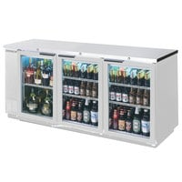 Beverage Air BB72GY-1-S-27-LED 72 inch Stainless Steel Back Bar Refrigerator with 3 Glass Doors and Stainless Steel Top - 115V