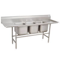 Advance Tabco 94-3-54-24RL Spec Line Three Compartment Pot Sink with Two Drainboards - 103 inch