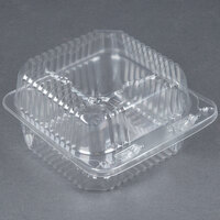 Durable Packaging PXT-11600 Duralock 5 inch x 5 inch x 3 inch Deep Clear Hinged Lid Plastic Container - 500/Case
